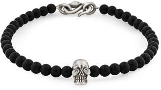 Snake Bones - Skull Bracelet in Sterling Silver with Diamonds Black Onyx & Snake Clasp