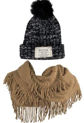 AERUSI Women's Classic PomPom Warm And Cozy Knitted Beanie and Soft Plush Infinity Scarf Bundle