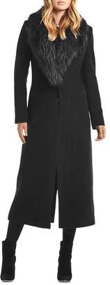 SAM. Perry Fur-Collar Wool-Blend Coat