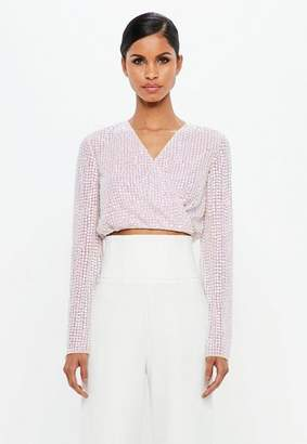 Missguided Silver Pearlescent Wrap Front Plunge Top