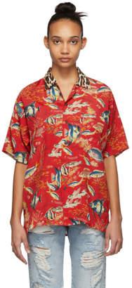 R 13 Red Fish and Leopard Hawaiian Shirt