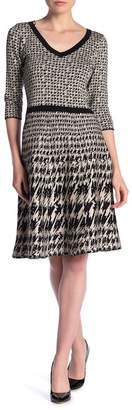 Taylor V-Neck Houndstooth Print Sweater Dress