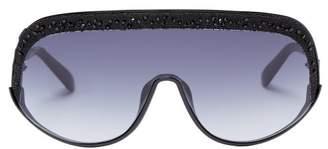Jimmy Choo Siryn Crystal Embellished Oversized Sunglasses - Womens - Black