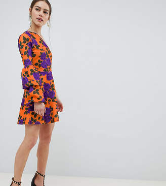 Asos DESIGN Petite one shoulder mini skater dress with double bubble sleeve