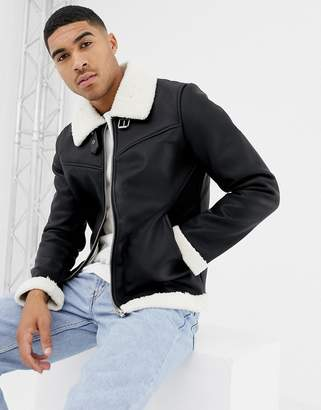 Bershka aviator jacket in black with fleece lining