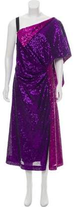 Prabal Gurung Asymmetrical Sequin-Embellished Dress Purple Asymmetrical Sequin-Embellished Dress