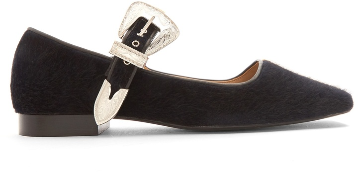 TOGA Faux-fur Mary-Jane ballet flats