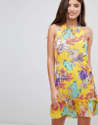 PrettyLittleThing Floral Haterneck Skater Dress
