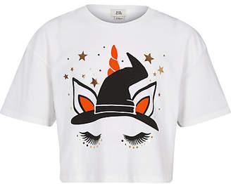 River Island Girls white Halloween unicorn T-shirt