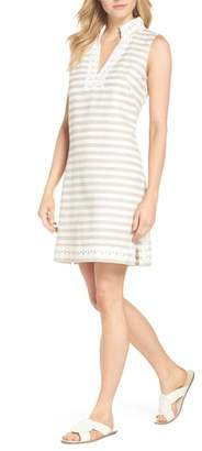 Eliza J Stripe Linen & Cotton Blend Dress