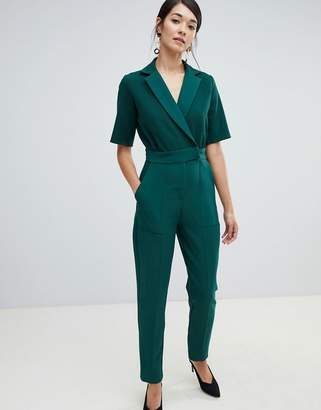 Closet London tuxedo jumpsuit in emerald green
