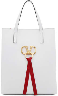Valentino White Garavani Large VRing North/South Shopper Tote
