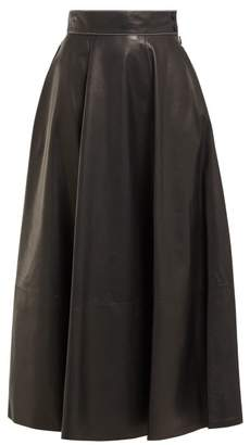 Loewe High Rise Leather Midi Skirt - Womens - Black