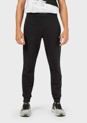 Emporio Armani Ea7 Train Logo Jogging Trousers In Baby French Terry Cotton