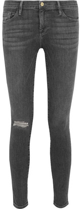 Frame - Le Skinny De Jeanne Mid-rise Jeans - Gray $230 thestylecure.com