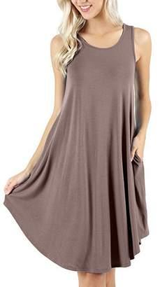 ZIOOER Women's Summer Casual Flowy Pockets Loose Beach Sleeveless T-Shirt Dresses M