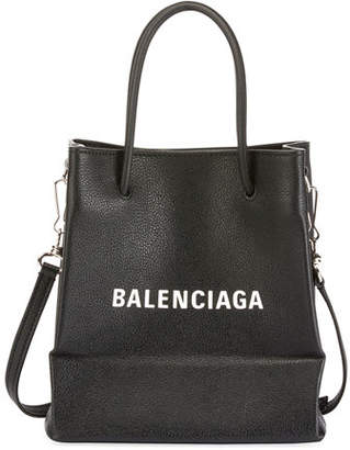 Balenciaga Small Logo Pebbled Leather Shopping Tote Bag