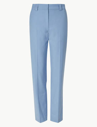Marks and Spencer Relaxed Straight Leg Trousers with Wool
