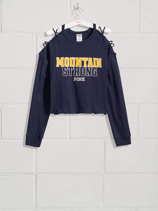 PINK West Virginia University Campus Long Sleeve Cold-Shoulder Tee