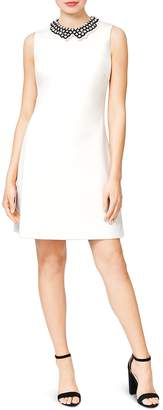 Betsey Johnson Embellished-Collar Scuba Crepe Shift Dress