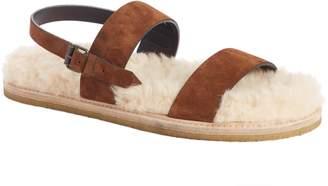 Saint Laurent Nu Pieds Genuine Shearling Lining Slingback Sandal