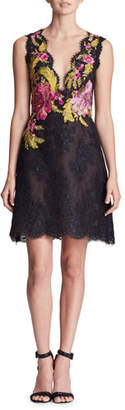 Marchesa Plunging Sleeveless Fit-and-Flare Corded Lace Mini Cocktail Dress