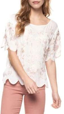 Dex Scalloped Floral Top
