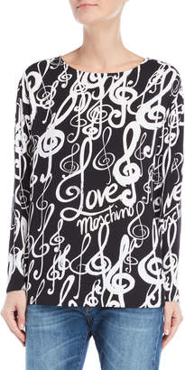 Love Moschino Boatneck Music Note Blouse
