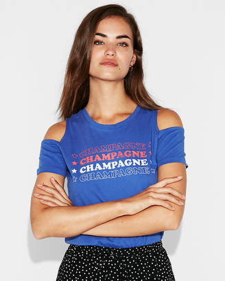 Express Cold Shoulder Champagne Graphic Tee