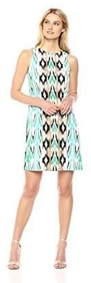 London Times Women's Sleeveless Matte Jersey Shift Dress