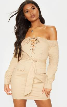 PrettyLittleThing Stone Cargo Bardot Lace Up Bodycon Dress