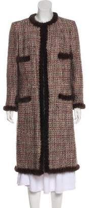 Chanel Mink-Trimmed Tweed Coat
