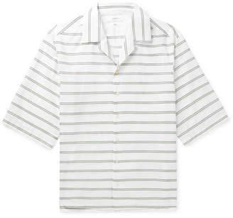 Joseph Camp-Collar Embroidered Striped Cotton-Poplin Shirt