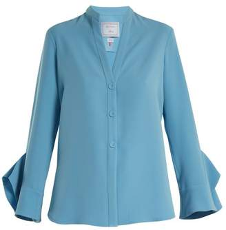 Dovima Paris - Lily Fluted Cuff Crepe Cady Blouse - Womens - Blue