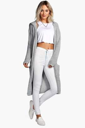boohoo Longline Hooded Cardigan