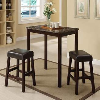 ACME Furniture ACME Idris 3-Piece Pack Counter Height Set, Faux Marble & Espresso