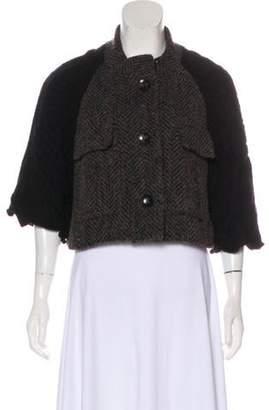 TSE Button-Up Crew Neck Sweater Brown Button-Up Crew Neck Sweater