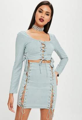 Missguided Carli Bybel x Blue Lace Up Crop Top