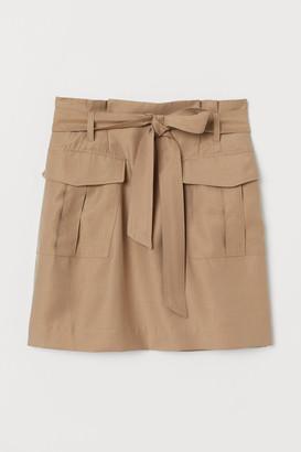 H&M Lyocell-blend Paper-bag Skirt - Beige