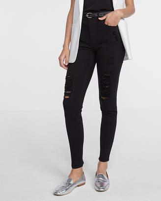 Express Black High Waisted Distressed Stretch Ankle Jean Leggings