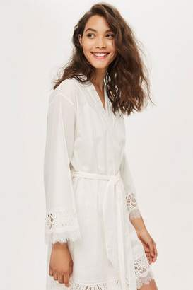 Topshop Cotton And Lace Robe