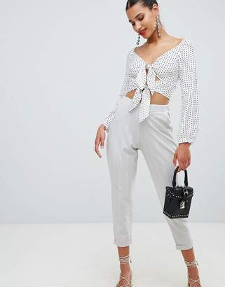 PrettyLittleThing Pinstripe Cropped Tailored Trousers