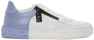 Versace White and Blue Greek Sneakers