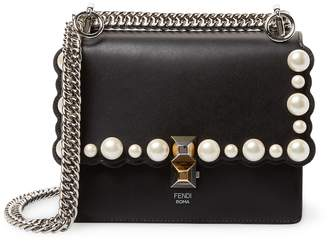Fendi Women's Kan I Small Pearly-Studded Leather Crossbody Bag