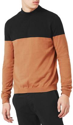 TOPMAN Colorblock Mock Neck Sweater $45 thestylecure.com