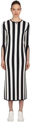 Courreges Striped Viscose Knit Long Sleeved Dress