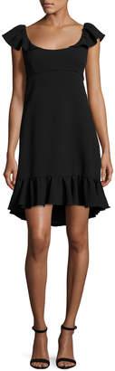 Milly Lindsey Cap-Sleeve Cady Dress, Black