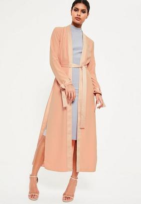 Nude Satin Trim Tie Cuff Duster Coat $70 thestylecure.com