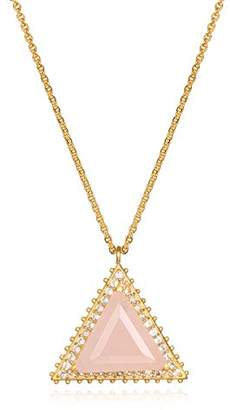 Satya Jewelry Womens Rose Quartz Gold Triangle Pendant Necklace 18-Inch