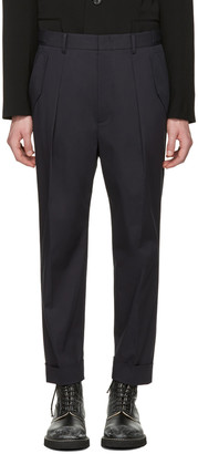 Juun.J Navy Pleated Trousers $480 thestylecure.com
